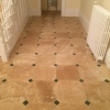 Classic honed & filled travertine with green slate cabachon (2)