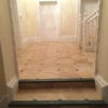 Classic honed & filled travertine with green slate cabachon (4)